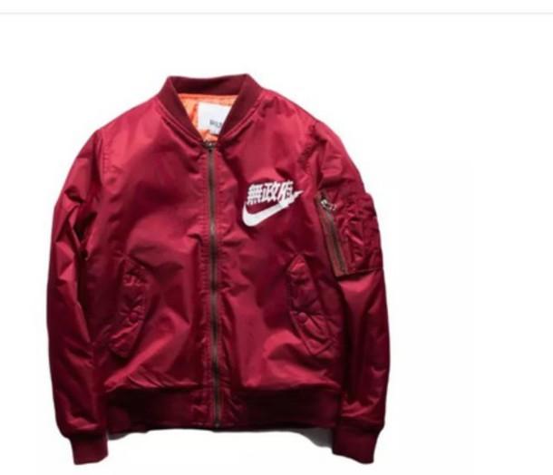 8b1e77977bbf jacket nike bomber jacket red jacket
