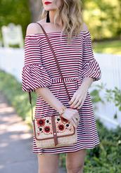 dress,tumblr,mini dress,off the shoulder,off the shoulder dress,stripes,striped dress,bag,embroidered,embellished,embellished bag