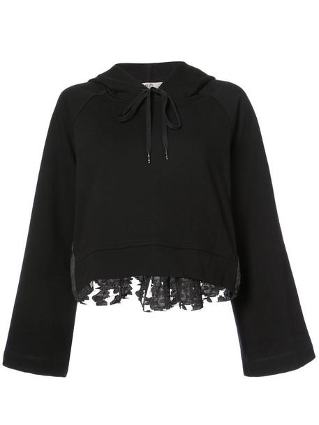 Sea - wide sleeve hoodie - women - Cotton/Acrylic/Nylon/Wool - L, Black, Cotton/Acrylic/Nylon/Wool