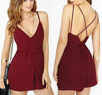 romper deep v v neck dress open back open back dresses jumpsuit dress sexy sexy dress clothes shorts fashion burgundy