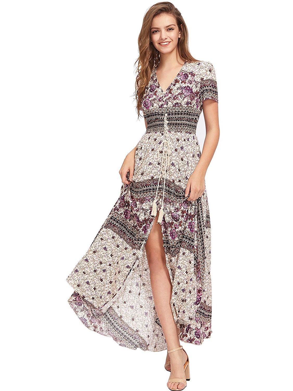 b62438f84d1 Milumia Women s Button Up Split Floral Print Flowy Party Maxi Dress at  Amazon Women s Clothing store