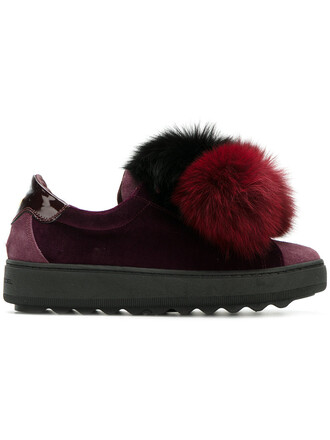 fur women sneakers leather cotton purple pink shoes