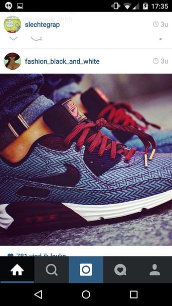 shoes grey red lacing nikes nike sneakers nike sportswear blue