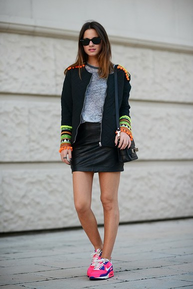 fashion vibe jacket sunglasses t-shirt bag shoes skirt
