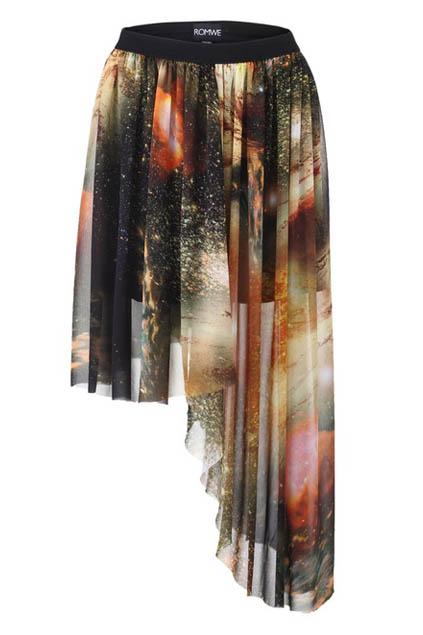 ROMWE   Mysterious Universe Asymmetric Skirt, The Latest Street Fashion