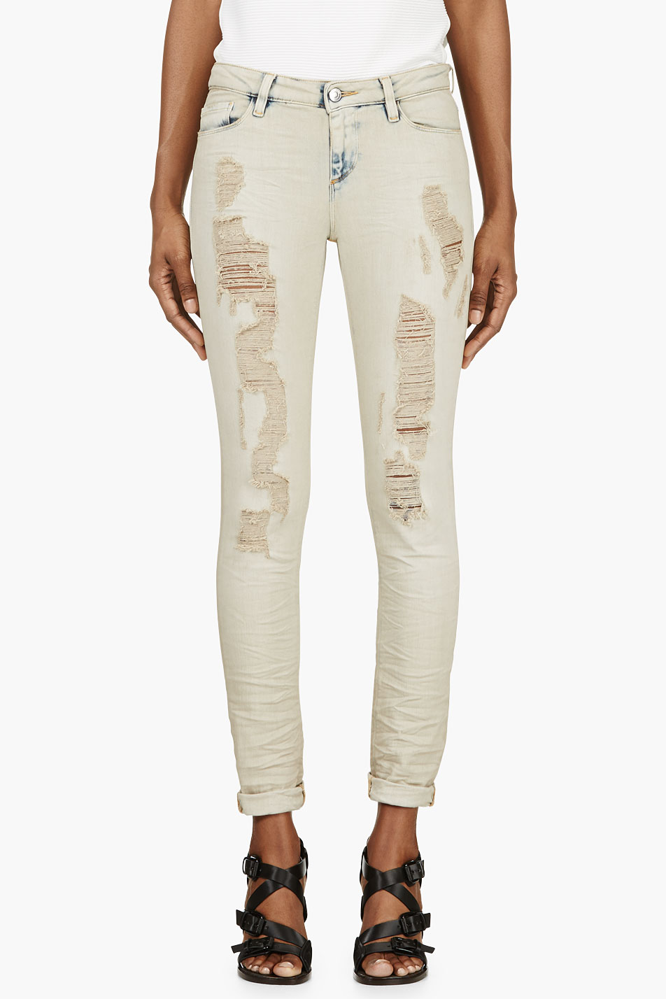 iro light beige shredded nash jeans
