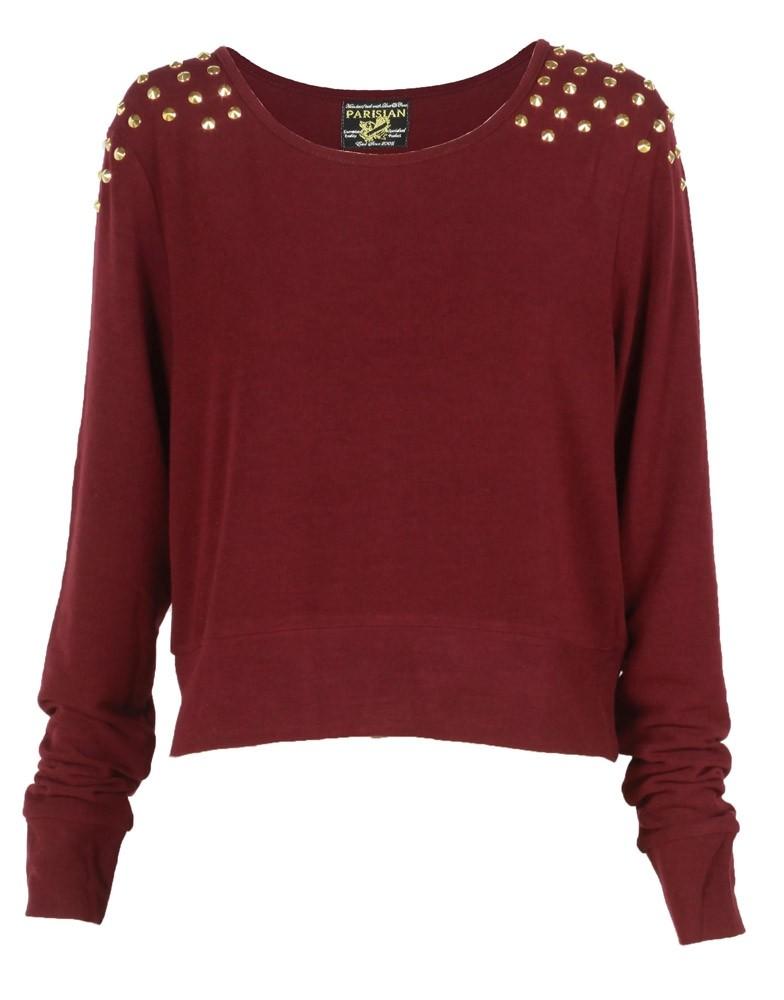 Burgundy stud shoulder crop knit jumper