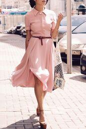dress,belted dress,collared dress,side slit,midi dress,elegant dress,pink dress,office dress,date dress,chic dress,stand collar