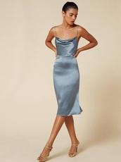 dress,slip dress,blue,silk,silky,cowl