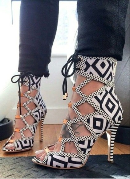 high heels shoes white black aztec aztec print aztec print shoes black and white sandals open toe lace up shoes sea of shoes open toes