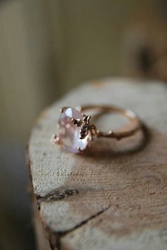 jewels heart pink setting quartz engagement ring hipster wedding valentines day gift idea ring diamond crystal stones jewelery pink stone gold ring