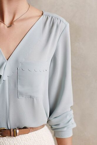 blouse baby blue belt necklace pockets scalloped v neck puckered rolled sleeves long sleeves classy
