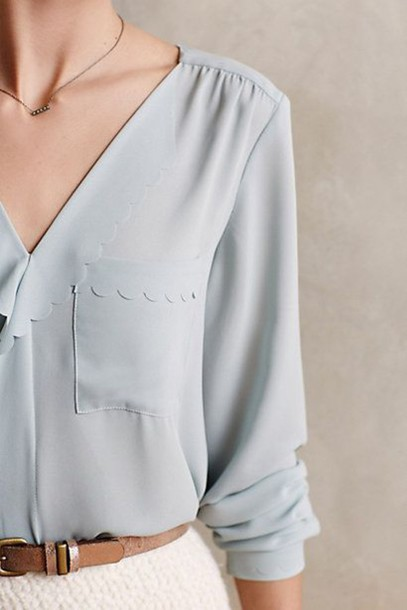 blouse baby blue belt necklace pockets scalloped v neck puckered rolled sleeves long sleeves classy top girly delicate elegant pastel blue pretty