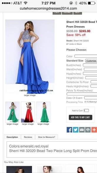 dress blue dress sherri hill two-piece prom dress