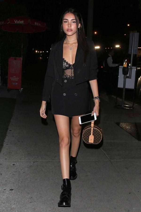 swimwear madison beer lace lace top lingerie bodysuit mini skirt skirt all black everything
