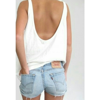 white tank top denim shorts