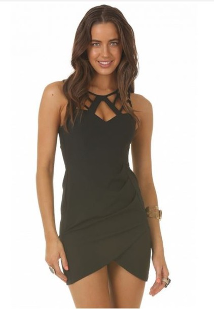 Dress: party dress, black, party, black dress, cut-out dress ...
