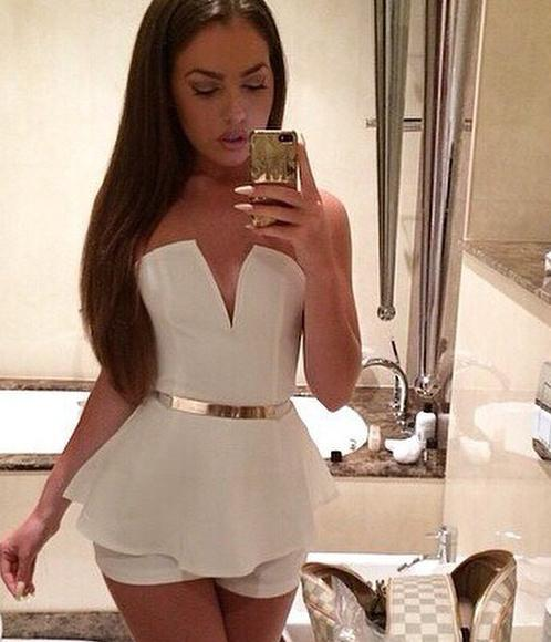 Cute v short jumpsuit romper no belt
