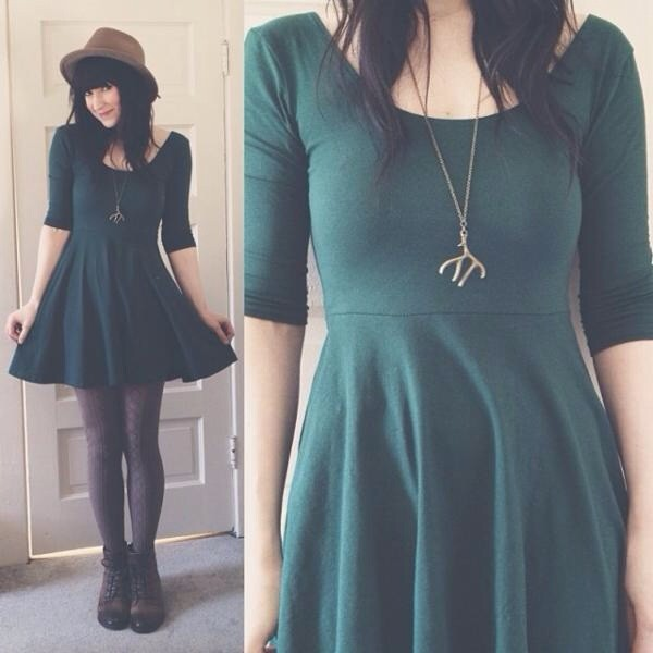 dress green dress green necklace hat