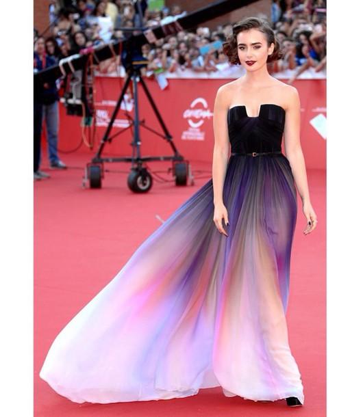 dress lilycollins eliesaab purple black ombre dress