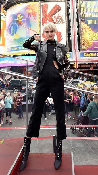 shoes pants jacket cara delevingne jumpsuit model all black everything mesh top