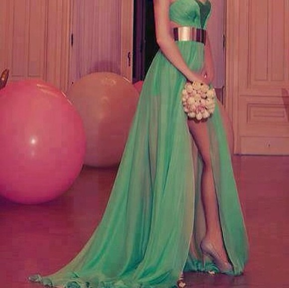 dress long prom dresses slit skirt green dress gold belt beautiful green dress