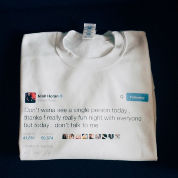 t-shirt one direction niall horan white twitter tweet