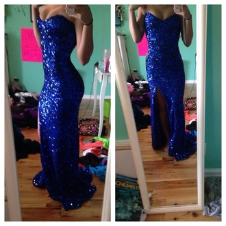 dress sequin dress royal blue prom gown blue prom dress long prom dress long with slit and with cut outs on each side