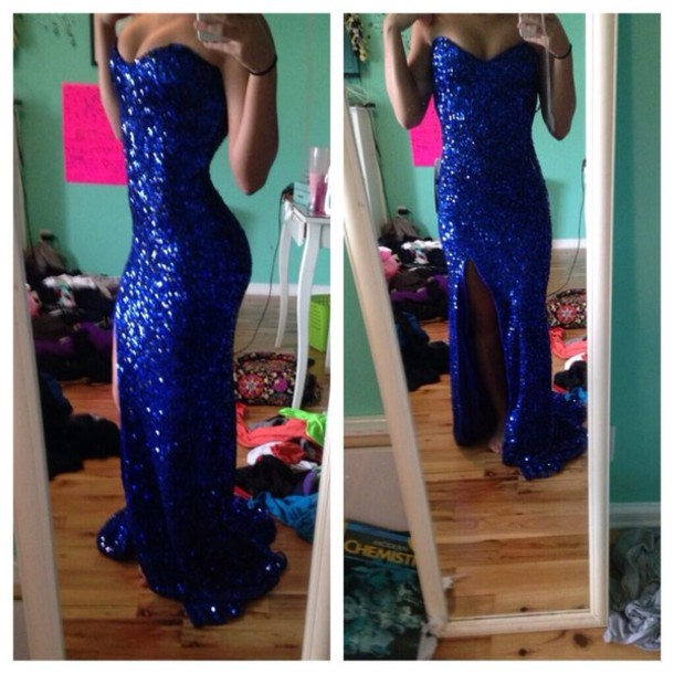 Long blue sequins prom dresses