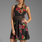 Free people printed daisy waist dress in black combo | revolve