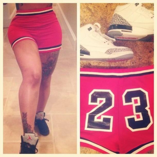 shorts 23 jordan blac chyna short red air jordan air jordan 23 Jordan micheal jordan red jordan 23 shorts shoes sneakers high top sneakers white black cool