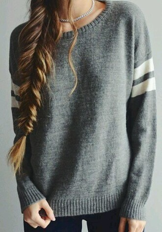 sweater long sleeve stripes cozy blouse grey sweater style classy shirt jumper casual fashion tumblr girly girl girly wishlist