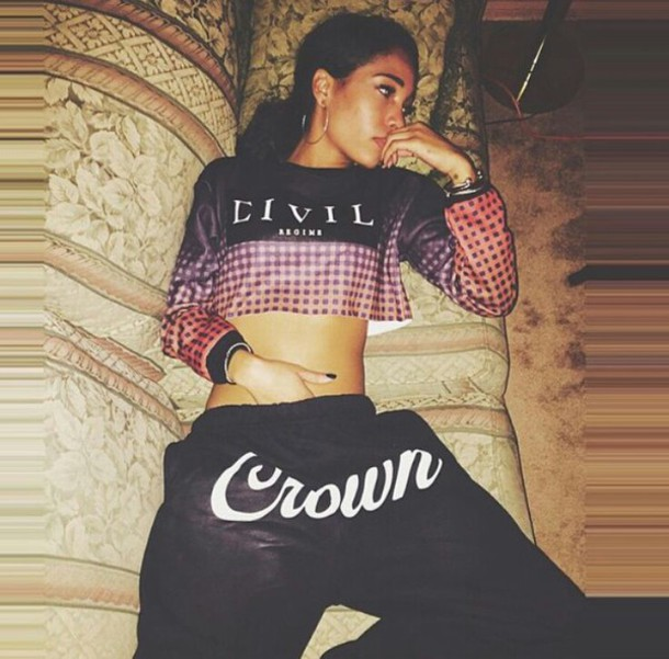 top crop tops long sleeves civil sweats crown pants