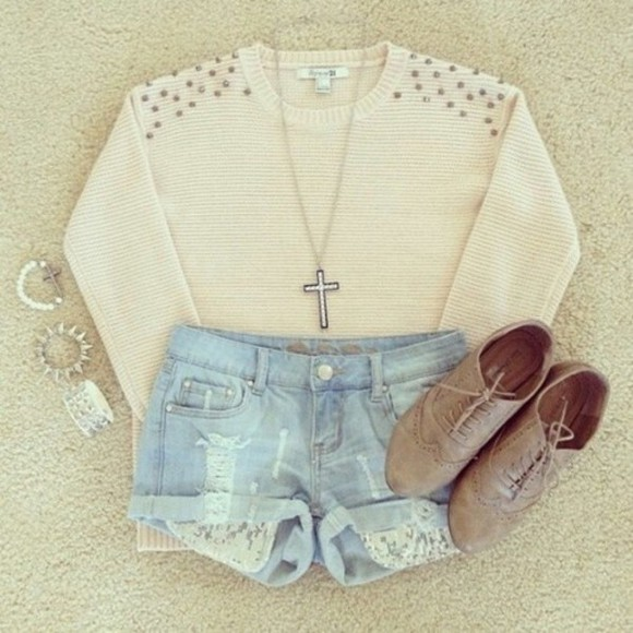 sweater shorts cute jewelery winter style fashion forever 21 white sweater spiked braclet bracelets shoes cross necklace lace denim shorts studs studded sweater oxfords brown