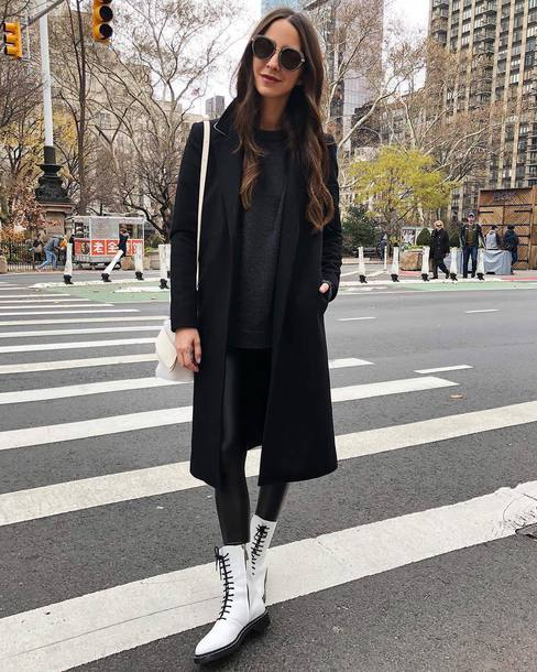 shoes tumblr boots white boots leggings black leggings leather leggings coat black coat sunglasses sweater black sweater