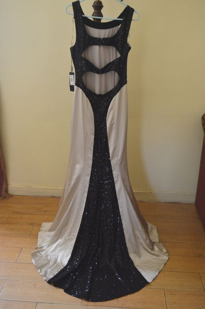 New Odrella Evening Dress Gown Stretch Satin Fabric with Sequined Details