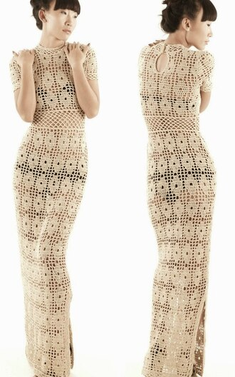dress handmade dress crochet white dress crochet maxi dress