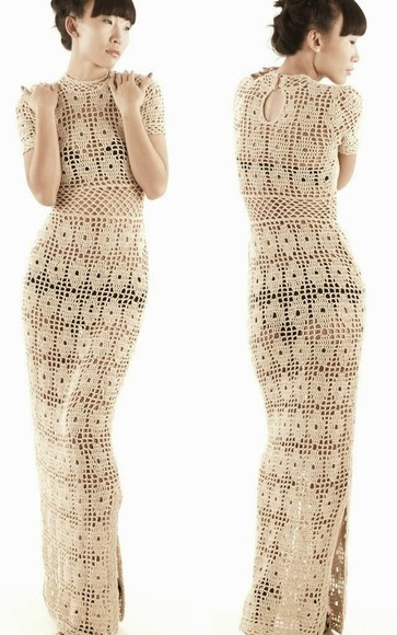 dress white dress handmade dress crochet crochet maxi dress