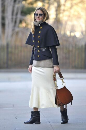 skirt jacket fall outfits blogger olivia palermo boots ankle boots