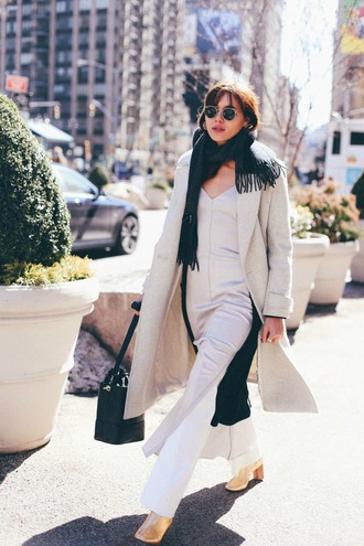 natalie off duty blogger dress pants jewels bag shoes coat scarf sunglasses