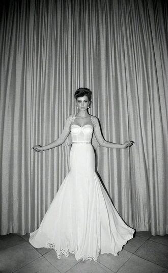 dress wedding dress wedding fishtail dress corset strapless dress bustier dress bustier wedding dress white dress long dress white wedding dress lace sweetheart neckline