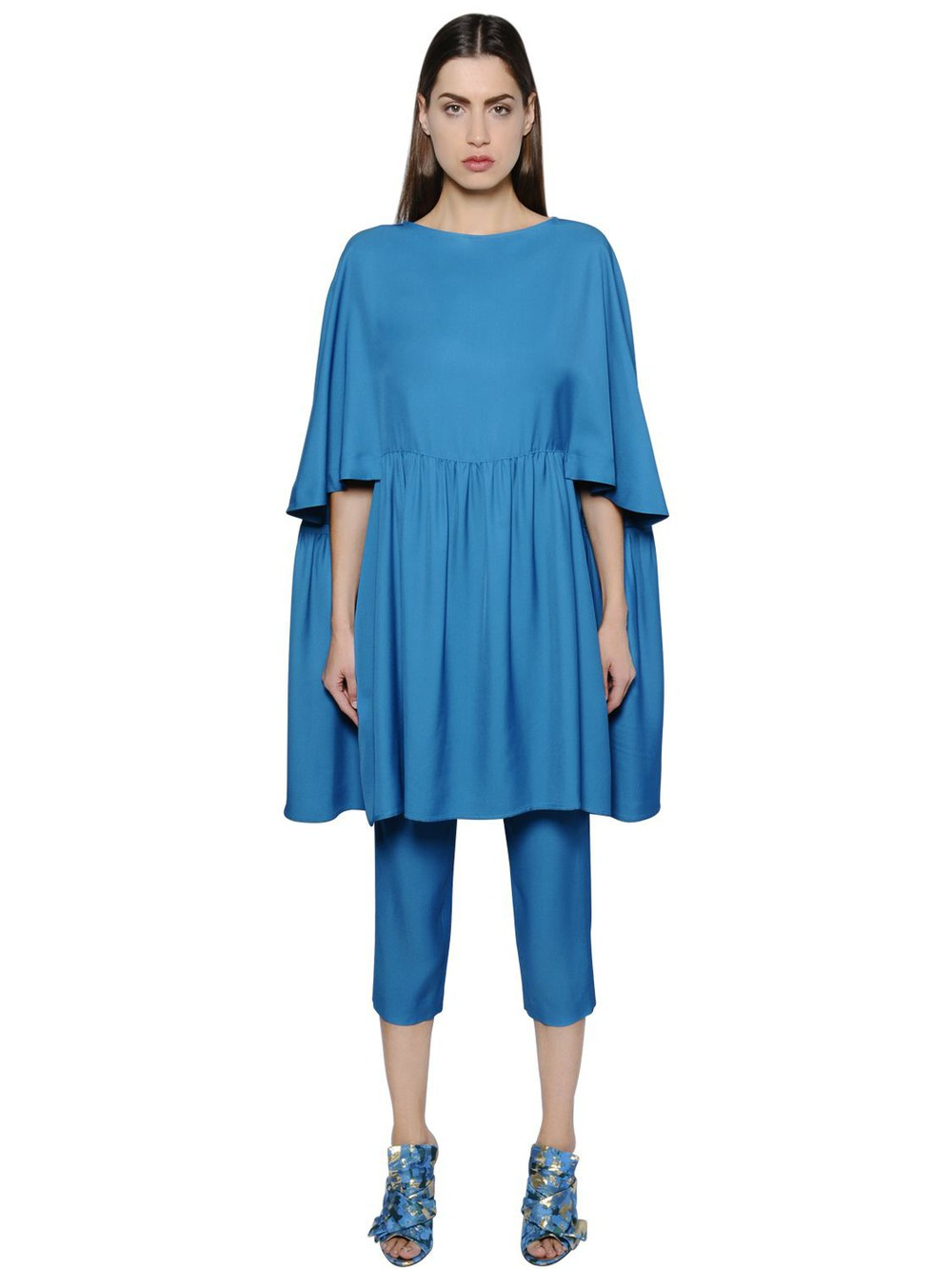 GIANLUCA CAPANNOLO Flared Viscose Tunic Dress in blue