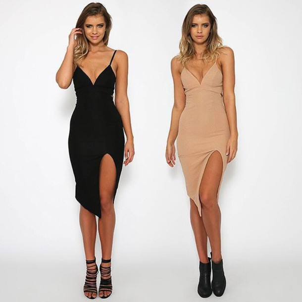 b61514635115 dress black dress black bodycon beige dress beige bodycon high slit dress  peppermayo