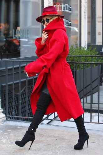 coat red rita ora fall outfits over knee high boots