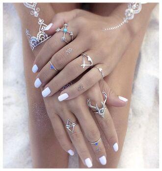 jewels boho rings boho bohemian deer head arrows arrow rings deer ring festival jewelry boho jewelry silver silver ring silver jewelry knuckle ring ring