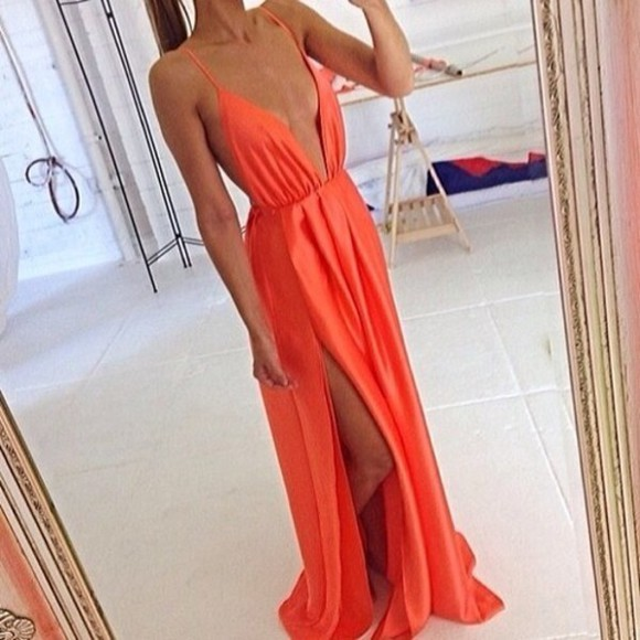 dress orange dress maxi dress long prom dresses prom dress flowy fashion tumblr low v neck slit dress strappy dress cami dress revealing boobs side boob silk dress