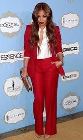 jacket,ruby red,blazer,pants,matching set,suits,shiny,white shirt,tight,tailoring,beautiful