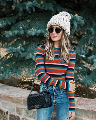 hat tumblr knitted beanie beanie sunglasses top stripes striped top bag black bag