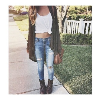 jeans ripped jeans light blue cardigan bag top brown panys denim ripped skin white know knot shirt green