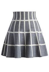 skirt,grids knitted skater skirt in grey,chicwish,grey,skater skirt